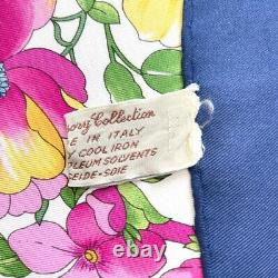 Gucci scarf silk GUCCI Scarves Large Size flower butterfly Pattern white