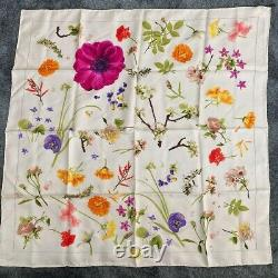 Gucci scarf silk GUCCI Scarves Large Size square flower pattern white