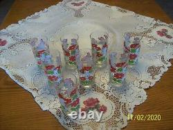 Hildi Vintage Anchor Hocking Red Floral & White Fence Pattern Grouping Of 8