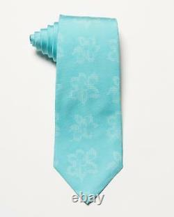 Isaia Napoli NWT $230 Blue White Floral Pattern 7 Fold Silk Classic Tie 3.5