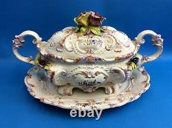 Italian Porcelain Ceramic Capo Style Floral Pattern Platter Serving Container