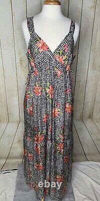 Johnny Was Silk Maxi Dress Size Large Floral Hibiscus Check Pattern Black White