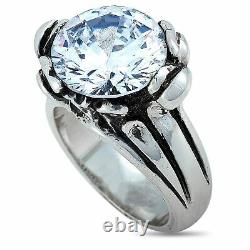 King Baby Silver and White Cubic Zirconia Floral Pattern Ring