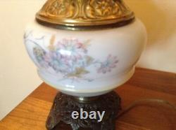 Large white floral GWTW table lamp 22 1/2 with sailboat and floral pattern
