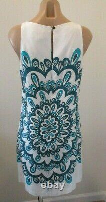 MILLY White Silk Dress with Blue Floral Pattern & Bandeau Neckline 10 NWT