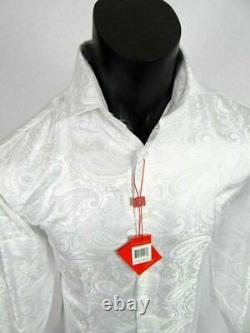 Mens Leonardi French Cuff Dress Shirt White Floral and Paisley Patterns Sheen