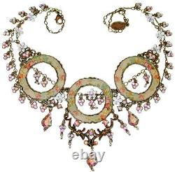 Michal Negrin Floral Pattern Hoop Swarovski Crystal Round Circle White Necklace