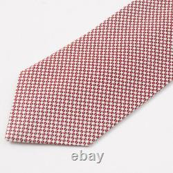 NWT $295 CESARE ATTOLINI Burgundy and White Woven Floral Pattern Silk Tie