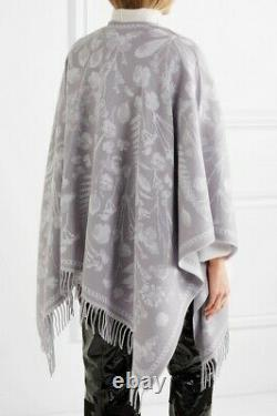 NWT ALEXANDER MCQUEEN Reversible Floral Pattern Poncho Grey White