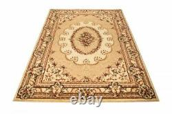 New Cream Rug Classical Design Floral Pattern Soft Best Price S XXL Carpet