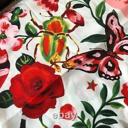 New Gucci Scarf Shawl Floral Pattern Square 35x35 Red White Silk BNWT Snake
