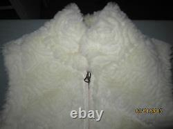 OOAK reversible white carved rabbit fur & suede vest with flower pattern, size M
