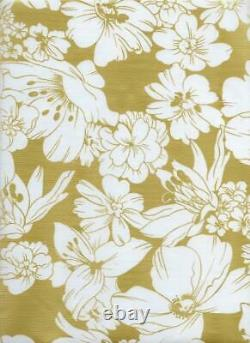 Oilcloth Fabric Elegant Floral Victoria Gold Pattern Sold in Yard or Bolt