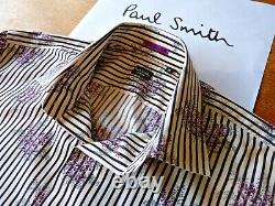 PAUL SMITH Shirt in 100% Cotton, Made in Italy, Long Sleeves, Floral Pattern, Size16