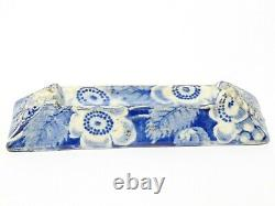 Pair Antique Blue and White Ceramic Knife Rests Embossed & Floral Pattern #2