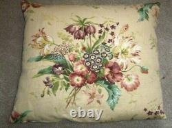 Pair of large feather filled cushions floral pattern 23 x 19
