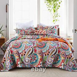 Qucover Quilted Bedspreads Soft Cotton Orange Floral Paisley Pattern King Size 2