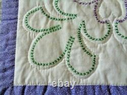 Quilt Hand Made CrossStitch Pattern Green Lavender White Backing Quilted White
