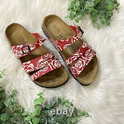 RARE Birkenstock Betula Red and White Rose Pattern Sandals Size 37 / 7 Narrow