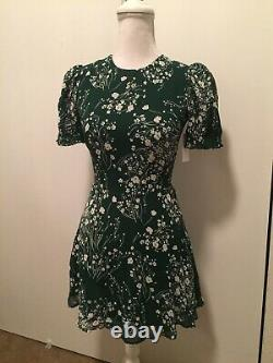 Reformation Irma fit flare Dress NEW sz 0/XS green floral pattern white $250 NWT