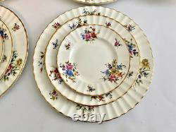 Royal Worcester Roanoke China Service 24 PC For Four, Floral Pattern Fluted Edge