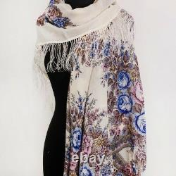 Russian Pavlovo Posad Shawl with Floral Pattern Wool 57x57 Made in Russia 1432-2