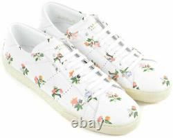 Saint Laurent Women's sneakers in white leather floral pattern Size US 9 EU 39