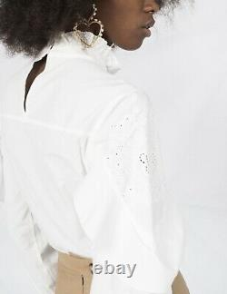 See By Chloe White Floral Embroidered Long Sleeve Ruffle-Trimmed Cotton Blouse