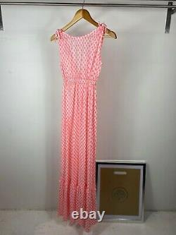 Seraphina Pink and White Floral Pattern Empire Line Maxi Length Dress UK XS