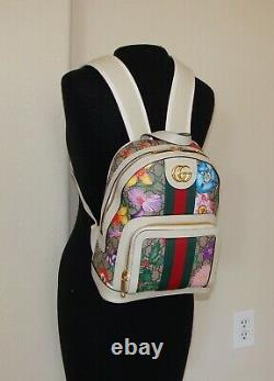 Small Gucci Backpack Ophidia /GG Supreme & Floral pattern with White Leather Trim