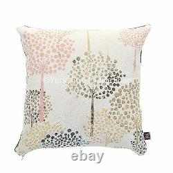 Soft Woven Chenille White Blue Yellow Pink Floral Trees Pattern Fabric Cushions