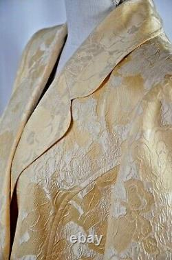 St John Couture Blazer Sz 10 Floral Pattern Italy Silk Blend Cream Double Breast