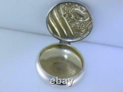 Sterling FRANK WHITING Pill / Snuff Box ornate floral leaf & scroll patterns