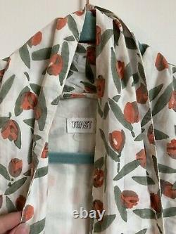 TOAST White & Red Tulip Floral Pattern Kimono Dressing Gown Size S
