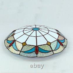 Tiffany Style Blue Red Floral Pattern Crystal Glass Round Shade LED Flush Mount