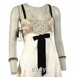 VALENTINO Dress White Floral Beaded Sequin Detail Size 10