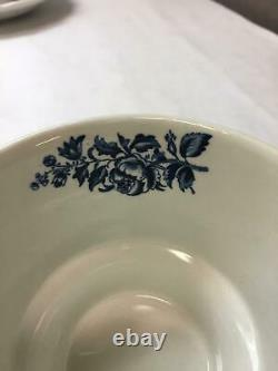 VINTAGE Booths CHINA Peony PATTERN Blue WHITE Floral SET OF 8 Teacups SAUCERS