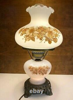 Vintage 3 Way White Milk Glass & Brass Hurricane Lamp With Floral Pattern 18.5