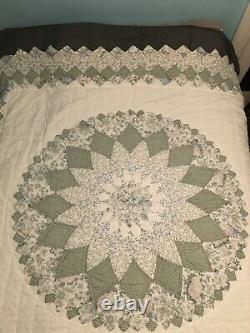 Vintage Blanket Quilt Flowers 78X78 Green And White Patterns