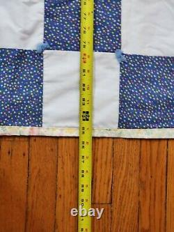 Vintage Blue & White Checkered Quilt / Floral Pattern on 2nd Side 85 X 38