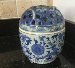 Vintage Bombay Blue White Chinoiserie Lattice Lid Jar with Floral Pattern