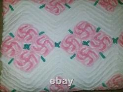 Vintage Chenille Bedspread withpompoms Floral Pattern king Size 90x100 pink white