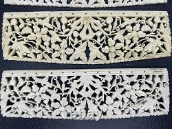 Vintage Chinese Carved Bone Floral Pattern BOVINE 7 Inches Lot Of 4