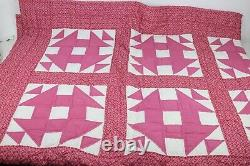Vintage Hand Sewn Light Pink & White Patterned Square Quilt Homemade 89 x 72