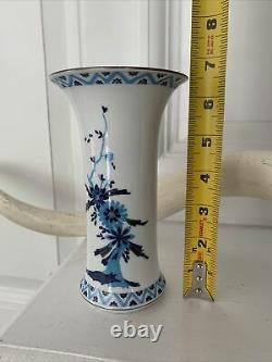 Vintage Herend Hungary Vase Asian White Blue Floral Bouquet 6.5 Pattern