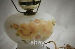 Vintage Hurricane White Glass Lamp Hand Painted Yellow Floral Pattern Ruffle Top