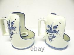 Vintage Pair Used Ceramic Blue White Floral Pattern Candlesticks Candle Holders