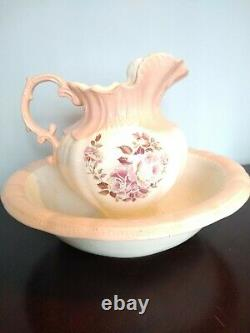 Vintage Water Pitcher and Basin. Peach/Rose/Pink/Coral/White. Floral pattern