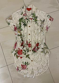 Vivienne Westwood Red Label white lace shirt with red roses pattern 40 (UK 8 10)