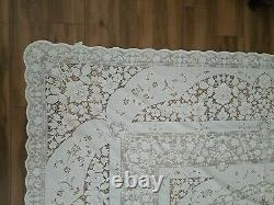 Vtg Quaker Lace Tablecloth 6280 White House Pattern 72X90 Lovely